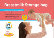 MEDca Breastmilk Storage Bags, 100 Count, BPA Free 6oz / 180ml