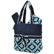 Quatrefoil Ikat Print NGIL Quilted 3pc Nappy Bag