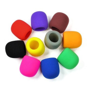 10PC Colours Handheld Stage Microphone Windscreen Foam Mic Cover Karaoke DJ - assorted colours