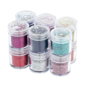 12 colours Nail Art Glitter Powder Shimmer Dust Tips Decorations Doubtless Bay