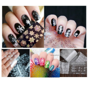 NICOLE DIARY 5Pcs/set Christmas White Snowflake Lace Flower Feather Leaves Gradient Holographic Clear Nail Foils Nail Art Transfer Sticker Paper