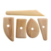TTnight 5 Pcs Wood Pottery Clay Sculpture Ceramics Moulding Tool Potters Rib