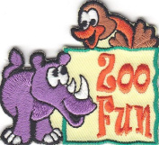 """"""" ZOO FUN"""" - IRON ON EMBROIDERED PATCH - ANIMALS - ZOO - JUNGLE - FOREST - FARM"""