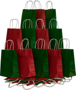 Christmas Gift bags, Red & Green Kraft with white twine handles, 12 of each colour, set of 24 bags