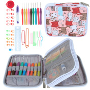 Teamoy Ergonomic Crochet Hook Set - with Organiser Case and Complete Accessories /Crochet Kit, Cats Pink