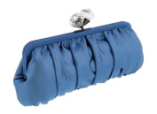 Scheilan Blue Fabric Ruched Crystal Knot Clutch