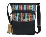 Mato Crossbody Bag Boho Zipper Shoulder Side Purse Bohemian Tribal Aztec Pattern Black