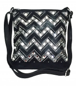 Zzfab Gem Stone Cheron Zigzag Sparkle Cross Body bag bling purses