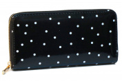 Corona Collection Black and White Polka Dot Faux Patent Zip Around Wallet
