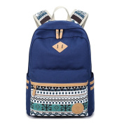 Canvas Lightweight Student Backpacks for Girls School Bags Blue