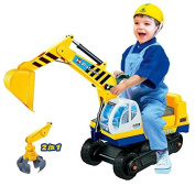 Toy Digger with 2 Scoops, Yellow