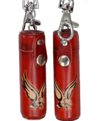 A Pair of Leather keychain,ChapStick/ToothPick Holder, Giant Eagle/Bull pattern