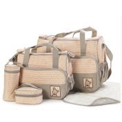LakeRom 5pcs/set Multifunction Large Capacity Baby Nappy Bag Nappy Changing Pad Travel Mummy Bag Tote Handbag Set