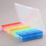 1pc Pill Tablet Holder Storage Case Colourful Travel Dispenser Organiser Box 21 Slots