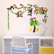 Lovely Monkey Wall Stickers Tree Wall Decals Kids Bed Room Nursery Wall Murals Home Wall Decorations