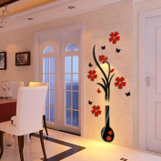 LandFox Stickers,DIY Vase Flower Tree Crystal Arcylic 3D Wall Stickers Decal Home Decor