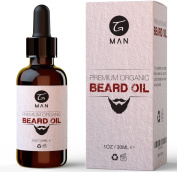 Organic Beard Oil by TG Man - for a Healthy Natural Looking Skin and Facial Hair - Fragrance Free Leave-In Conditioner - Presented in Cardboard Gift Box, 30ml