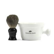 Fendrihan Porcelain Shaving Mug, White (MADE IN THE EUROPEAN UNION) AND Genuine 100% Pure Badger Shaving Brush with Black Handle