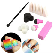 Happy Hours - Nail Art Colour Changing Sponges and Pen + Nail File + Sponge Stamper Makeup Tool Set