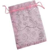 50 Organza Gift Bags (Pink with Silver Details) 18cm X 13cm