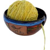 Aspen Leaf Yarn Bowl in Azuslcape glaze
