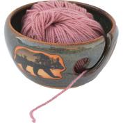 Mountain Scene Bear Yarn Bowl in Seamist glaze