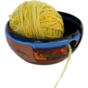 Hummingbird Yarn Bowl in Azulscape glaze