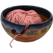 Wild Horses Yarn Bowl in Azulscape glaze