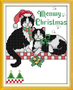 CaptainCrafts New Cross Stitch Kits Patterns Embroidery Kit - Two Christmas Cats