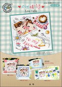 SO-3141 Love Table, SODA Cross Stitch Pattern leaflet, authentic Korean cross stitch design chart colour printed on coated paper