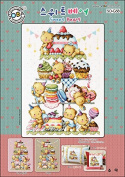 SO-G58 Sweet Bears, SODA Cross Stitch Pattern leaflet, authentic Korean cross stitch design chart colour printed on coated paper