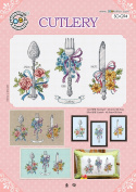 SO-G94 CUTLERY, SODA Cross Stitch Pattern leaflet, authentic Korean cross stitch design chart colour printed on coated paper