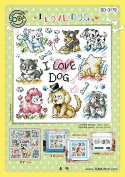 SO-3179 I LOVE DOG, SODA Cross Stitch Pattern leaflet, authentic Korean cross stitch design chart colour printed on coated paper