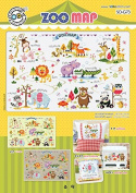 SO-G73 ZOO MAP, SODA Cross Stitch Pattern leaflet, authentic Korean cross stitch design chart colour printed on coated paper