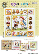SO-3178 Hansel and Gretel, SODA Cross Stitch Pattern leaflet, authentic Korean cross stitch design chart colour printed on coated paper