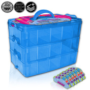 Tiny Toy Box Shopkins Storage Case Organiser Container - Stackable Sparkle Collector's Carrying Tote - Compatible With Happy Places Miny Toys Fash'ems Tsum Tsum Lego Hot Wheels