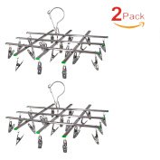 SUNDERPOWER 2 Pack Stainless Steel Swivel Hook 20 Clips Drying Rack Clothes Hanger