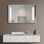 90cm x 70cm Horizontal LED Bathroom Silvered Mirror with Touch Button(C-N027)