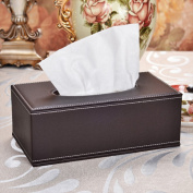 yazi PU Leather Square Roll Tissue Box Holder Cover for Home Office Brown colour, 10x 5.13cm x 9.4cm