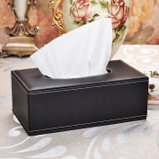 yazi PU Leather Square Roll Tissue Box Holder Cover for Home Office Black colour, 10x 5.13cm x 9.4cm