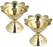 Set of 2 - Handmade Indian Brass Oil Lamp Painted - Diya Wick Light Candle Lamp -Dia 6.4 CM
