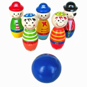 Colourful Mini Wood Bowling Ball Cartoon Figure Bowling Set Skittle Game Toys