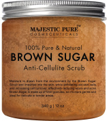 Majestic Pure Brown Sugar Scrub 350ml - Natural Exfoliator and Powerful Body and Facial Scrub for Anti Cellulite Treatment, Stretch Marks, Acne, and Varicose Veins