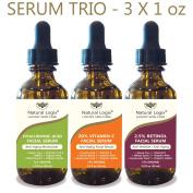 3 Bottle Serum Set – Natural Logix Anti-Ageing Serum Trio - 20% VITAMIN C (30ml) | 2.5% RETINOL (30ml) | HYALURONIC ACID (30ml), Penetrates to Reduce Wrinkles, Fade Dark Spots, Evens Skin Tone, 3 X 30ml