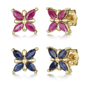 9ct Gold Butterfly Patterned Stud Earrings 7mm Ruby Earring / Blue Sapphire Earrings