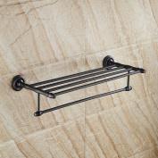 Beelee BA6103B Quality Oil Rubbed Bronze Brass Bathroom Towel Shelf Rack & Rail Double Tier Wall Mounted Black