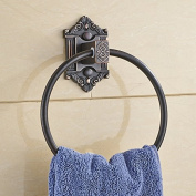 AUSWIND Vintage Carved Base Solid Brass Bronze/Black Brushed Towel Rings Wall Mount Bathroom Accessories