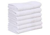 6 NEW WHITE 22X44 100% COTTON ECONOMY BATH TOWELS