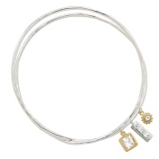 Silpada 'In the Mix' Sterling Silver, Brass, and Cubic Zirconia Double Bangle Charm Bracelet, 19cm