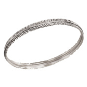 Silpada Sterling Silver Etched Feather Bangle Bracelet, 17cm